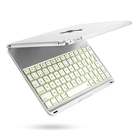 iPad Air 2 Clavier Étui, iEGrow F8S+ Bluetooth Clavier Cover avec 7 Couleurs LED Rétroéclairé, Sommeil automatique/Réveil pour iPad 6 [AZERTY français]
