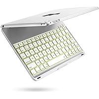 iPad Air 2 Clavier Étui, iEGrow F8S+ Bluetooth Clavier Cover avec 7 Couleurs LED Rétroéclairé, Sommeil automatique/Réveil pour iPad 6 [AZERTY français] Argenté