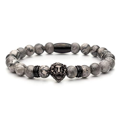 Voix Apparel® Löwen Armband für Herren & Frauen - Edles Herren Accessoire - Aus hochwertige & echten kratzfeste Onyx Perlen - Löwenkopf - Ideal als Geschenkidee geeignet (Marmor Black)