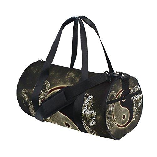 jstel Chinese Dragon Tiger Tai Bagua Yin Yang schwarz und weiß Sport Gym Tasche für Frauen und Herren Duffle Reisetasche