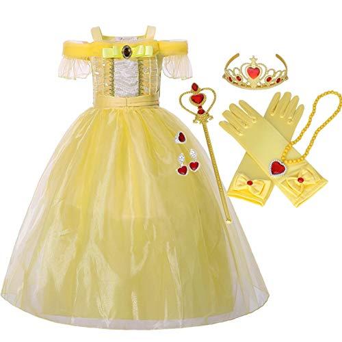 Belle Kostüm Urlaub - IWFREE Mädchen Belle Kostüm Prinzessin Kleid Cosplay Geburtstag Halloween Faschingskostüm Festkleid Fancy Dress Up Belle Kleider Kostüm Party Prinzessin