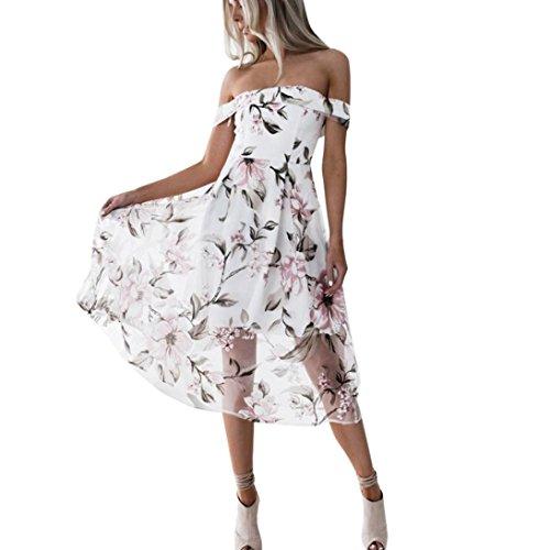 Schulterfrei Minikleid Gedruckt Kleid VENMO Frauen Aus Schulter Blumen Strandabend Party Kurzes Minikleid (Pink, Asiatische Größe: XL) (Neckholder Satin Plissee Kleid)
