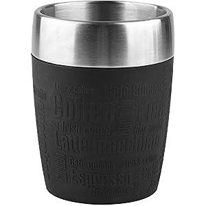Emsa 514514 Isolier-Trinkbecher, Mobil genießen, 200 ml, Dreh- Trinkverschluss, Schwarz, Travel Cup