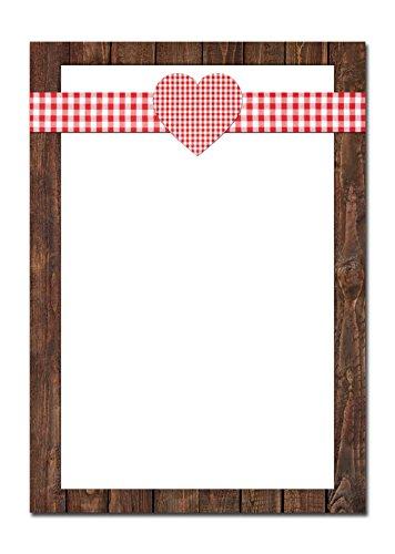 Druckerpapier ROT weiß kariert HERZ Holz-Optik Rahmen braun einseitig bedruckt 100g Schreibpapier Motiv-Papier DIN A4 Brief-Bogen Bayern bayerisch Design-Papier ()