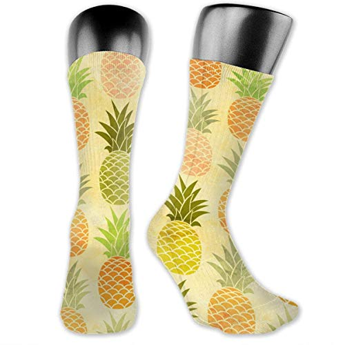 YudoHong Vivid Colors Watercolor Pineapples Unisex Casual Crew Socks Daily Sports Socks ankle socks