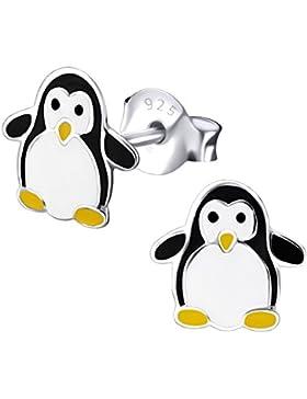 Laimons Kids Kinder-Ohrstecker Kinderschmuck Pinguin Weiß, Schwarz, Gelb Sterling Silber 925