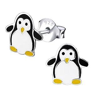 Laimons Mädchen Kids Kinder-Ohrstecker Ohrringe Kinderschmuck Pinguin Vogel Seevogel 6mm schwarz weiß aus Sterling Silber 925