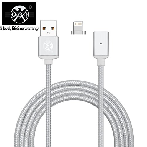 UGI® Strong Level Magnetic Braided USB Fastest Charging Cable for iPhone 5,5c,5s,SE,6,6 Plus,6s,6s Plus,7,7 Plus,iPad,iPod ( 1 pack Silver ) -