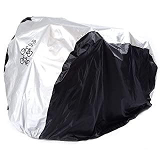 ANFTOP For 2 Bike Cycle Bicycle Cover Outdoor Outside Storage Rain Waterproof Scooter Cover For two Mountain Bike Road Bike All Weather Dust Resistant UV Protection