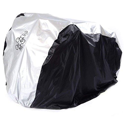 ANFTOP 200*75*110CM Copribici Bici impermeabile Telo Protettivo Copertura per 2 Bicicletta Antipolvere Anti UV Copri Bicicletta Argento nero