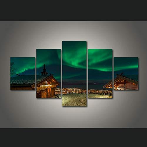ZYLWD 5 Leinwand Gemälde Leinwand Malerei Wandkunst Wohnkultur 5 Stücke Aurora Borealis Blockhaus Nachtansicht Moderne Hd Gedruckt Bilde