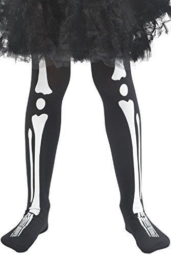Mädchen schwarz weiß Skelett Knochen Halloween Horror unheimlich Beine Zubehör Kostüm Kleid Outfit Strumpfhose 8-12 (Unheimliche Kostüme Mädchen Für Halloween)