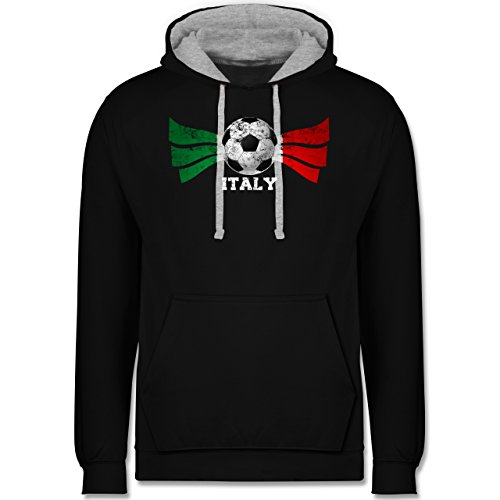 Fußball - Italy Fußball Vintage - Kontrast Hoodie Schwarz/Grau Meliert