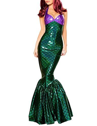EZSTAX Meerjungfrau Abendkleider Damen Kostüm Maxikleider Partykleider Frauen Kleider für Party Halloween Karneval,c,L