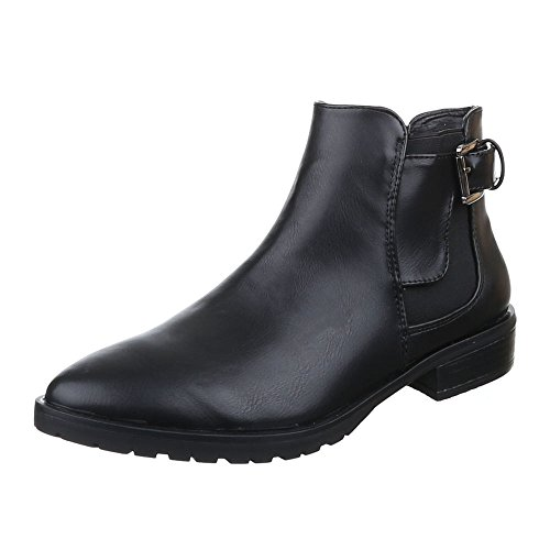 Damen Schuhe, 6230-1, STIEFELETTEN CHELSEA BOOTS Schwarz