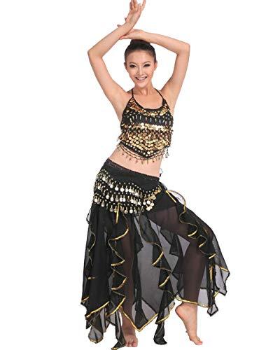 Grouptap Bollywood asiatischen indischen arabischen Jasmin Bauchtanz Kleid Kostüm schwarz/Rosa/weiß 2-teiliges Halfter Top Rock Phantasie sexy Frauen Outfit (Schwarz, 150-175 cm, 40-70 kg)