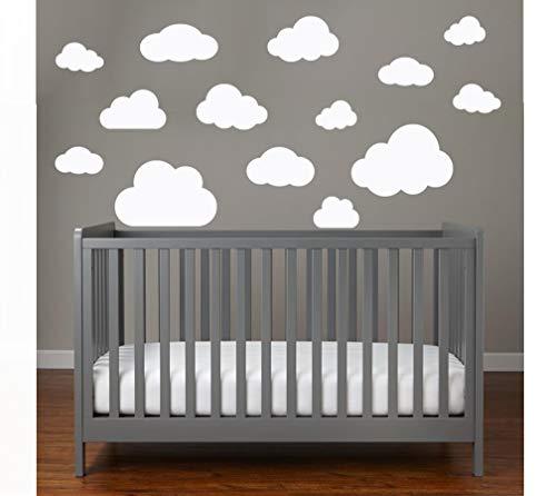 WOLKEN SET 14x Wolke Wandtattoo Wandaufkleber Sticker Aufkleber Wand Himmel Baby (Wolkenset 14 Teilig, Weiß) -