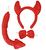 Teufel Set Teufelset 3tlg Schwanz,Schleife,Haarreif mit Ohren