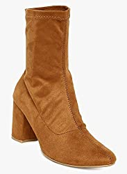 Flat n heels Womens Tan Slip On Boots