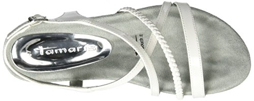 Tamaris 28106, Sandali con Zeppa Donna Bianco (White Patent 123)