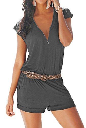 Yidarton Combishort Femme Sexy Casuel Romper Jumpsuit Col V Zippé Eté Plage Short Femme Chic Combinaisons Short avec Poche Playsu