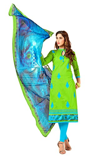 Priyavadhu Women's Slub Cotton straight Unstitched Salwar kameez Dress material (BLBSTR1010_Light Green_Free...