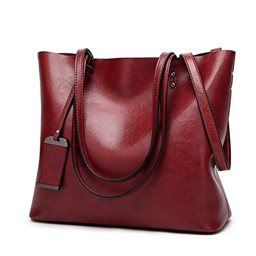 fb25a0c4b215 Womens Soft Leather Handbags Large Capacity Retro Vintage Top-Handle Casual Tote  Shoulder Bags