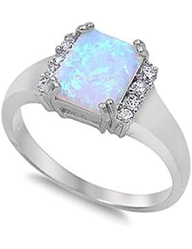 Ring aus Sterlingsilber mit Lab Opal