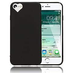 Idea Regalo - iPhone 8/7 Cuore Custodia Protezione di NALIA, Ultra-Slim Case Cover Protettiva Morbido Cellulare in Silicone Gel Gomma Bumper Sottile per Telefono Apple iPhone 7/8 Smart-Phone, Colore:Nero