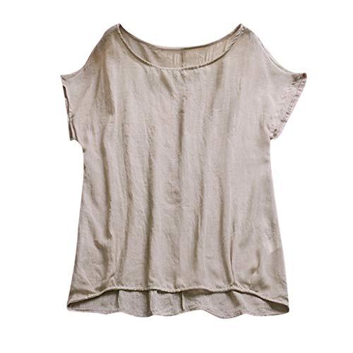 CAOQAO T-Shirt Rundhals Ausschnitt Frauen Mode Sweatshirt Rundhals Fledermaus Kurzarm Baumwolle Lose UnregelmäßIger Saum Tops Bluse