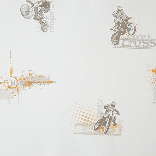 CASELIO ONLY Boys Jungen Motorräder auf weißem Hintergrund und Zeichnungen 64813002Tapete in Taupe und Orange