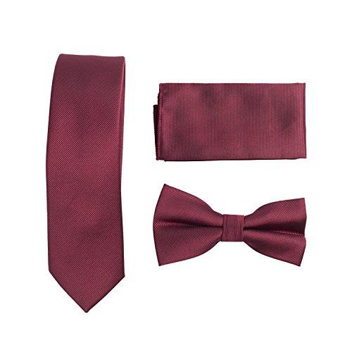 TIE026-Mens 3 Pcs Gift Set Silk Feel Skinny Neck Tie+Bow Tie+Hanky Burgundy Woven Woven 3 Mens Tie