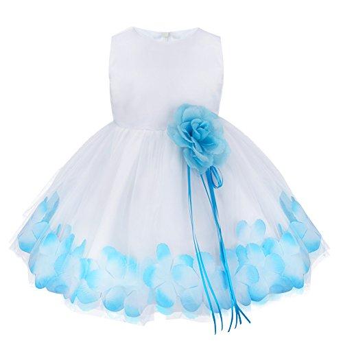 iEFiEL Vestido Elegante de Flores de Pétalos de Princesa para Bebé Niña Azul 12-18 Meses