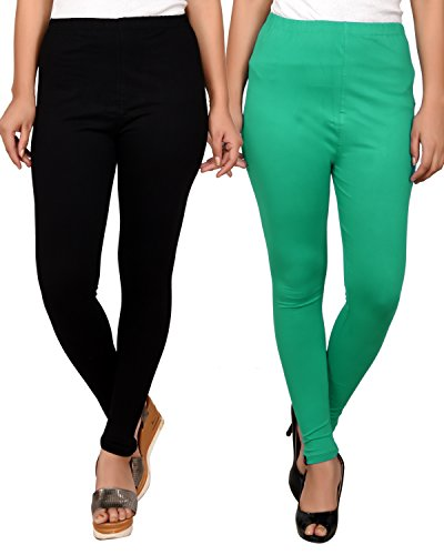 Light Rama Green and Black combo leggings for women -ankle leggings Combo-Best Quality 20 Plus Color Legging variations - Pack of combo- Ankle Length- Original -fine fabric only for girls / Women -Size- (L,XL,XXL Size)-Cotton fabric legging-Stretchable-fit to waist Size by Roop Trading Co