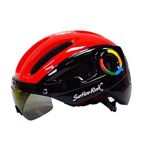 Yuncai leggero casco da ciclismo con occhiali regolabile caschi da montagna bici per uomo e donna 54-58cm
