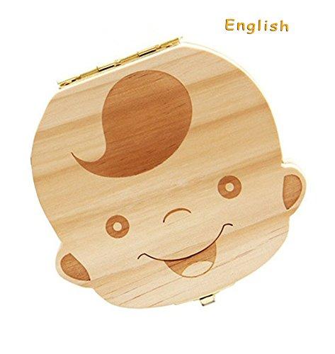 Lumanuby Baby Zahnbox, Haarbox, schöne, hölzerne, handgemachte Aufbewahrungsbox für Babyzähne mit Cartoon-Muster (beige) fur junge, 12.5x12.3x3cm Englische Version Andenken-box Für Jungen