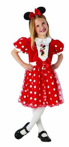 Disney Kinder Kostüm rote Glitzer Minnie Maus mit Haarreif Gr.5-6 ()