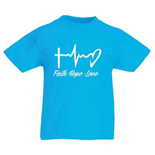 en T-Shirt Glaube - Hoffnung - Liebe - 1. Korinther 13:13, Christliche Zitate und Sprichwörter, Religiöse Sprüche (5-6 Years Hellblau Mehrfarben) (Nummer 1 Halloween Film)
