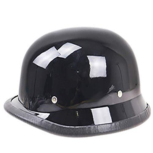 LALEO Retro Harley Offenes Motorradhelm, Jet-Helm, Roller-Helm, Damen und Herren ECE Genehmigt Schwarz, Rot, Mattschwarz (55-64cm),Black,XL
