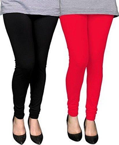 M.G.R.J Women\'s Cotton Lycra Churidar Leggings Combo ( Pack of 2 Black, Red ) - Free Size