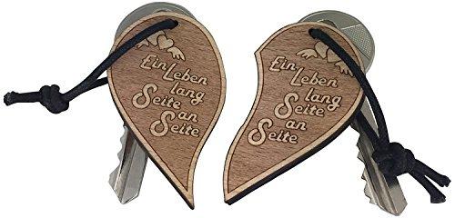 """Schlüsselanhänger """"Ein Leben lang Seite an Seite"""" für Lieblingsmensch Geschenk Anhänger Partner vom ORIGINAL endlosschenken"""