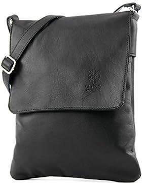 modamoda - ital. Ledertasche Schultertasche Umhängetasche Damentasche Nappaleder T33