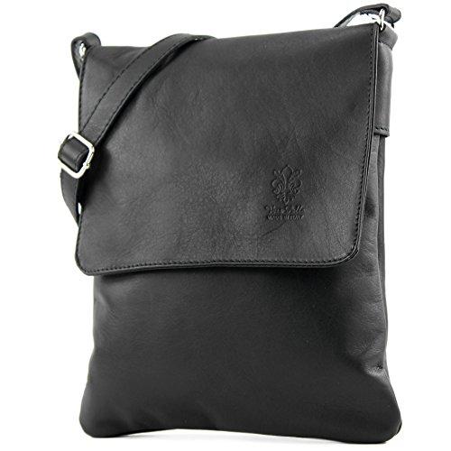 modamoda de - ital Umhänge/Schultertasche aus Nappaleder T33, Schwarz, siehe Beschreibung (Body Schwarz Stoff Cross Handtaschen)