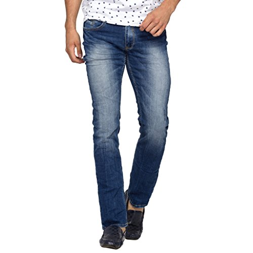 Spykar Mens Dark Blue Skinny Fit Low Rise Jeans (38)  available at amazon for Rs.1039