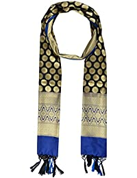 Vaikunth Women's Silk Dupatta (Black & Blue)