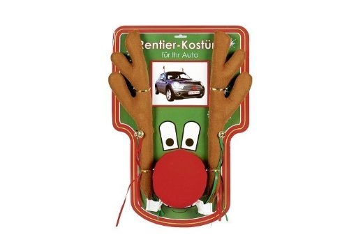 Elchgeweih für Auto 44cm Rentier PKW Elch rote Plüsch Nase Rudolf Weihnachten - Kfz Kostüm Set