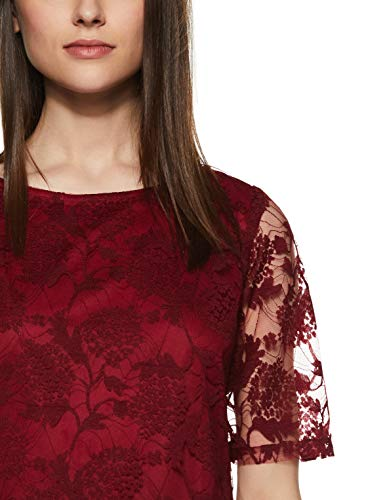 Miss Olive Women's Floral Slim fit Top (MOSS19TP30-01-143_ Maroon_ S)