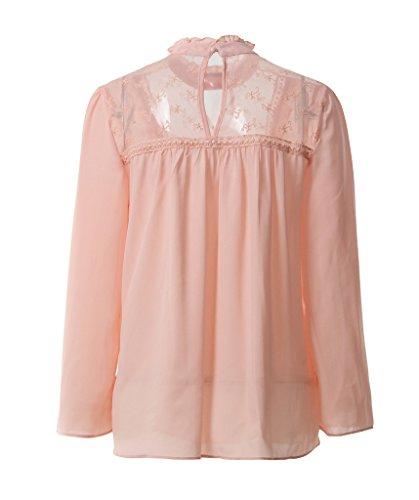 Smile YKK Chemise Mousseline de Soie Femme Dentelle T-shirt Tops à Manches Longues Blouse Casual Rose