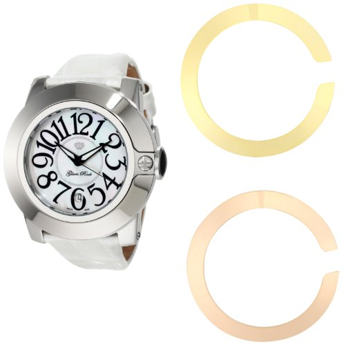 Glam Rock Women's GR32050 SoBe White Mother-Of-Pearl Dial Patent Leather Alligator Pattern Watch