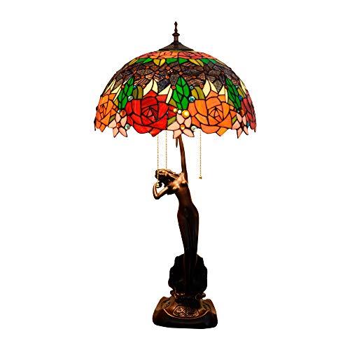Stained Glass Lampara De Escritorio De Estilo Tiffany De Dos Tonos Rosa...